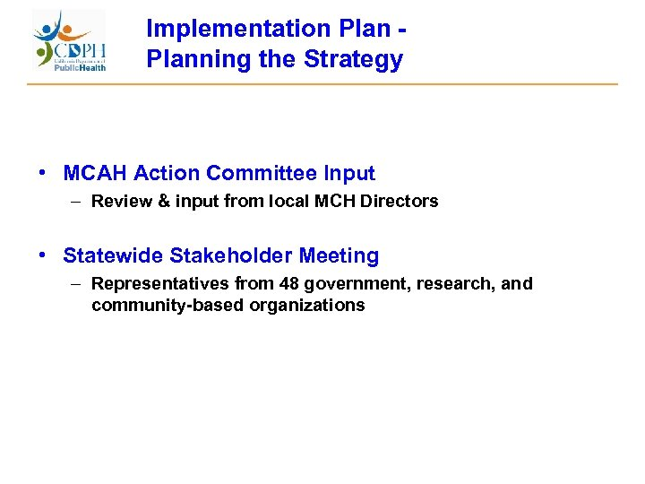 Implementation Plan - Planning the Strategy • MCAH Action Committee Input – Review &