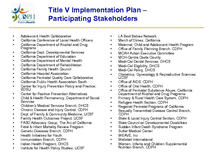 Title V Implementation Plan – Participating Stakeholders • • • • • • •
