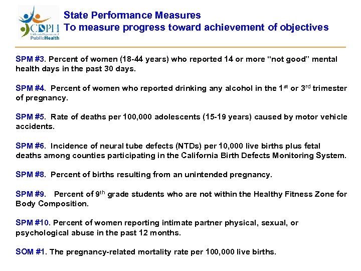 State Performance Measures To measure progress toward achievement of objectives SPM #3. Percent of