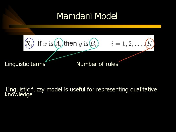 Mamdani Model Linguistic terms Number of rules Linguistic fuzzy model is useful for representing