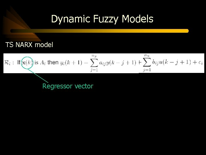 Dynamic Fuzzy Models TS NARX model Regressor vector