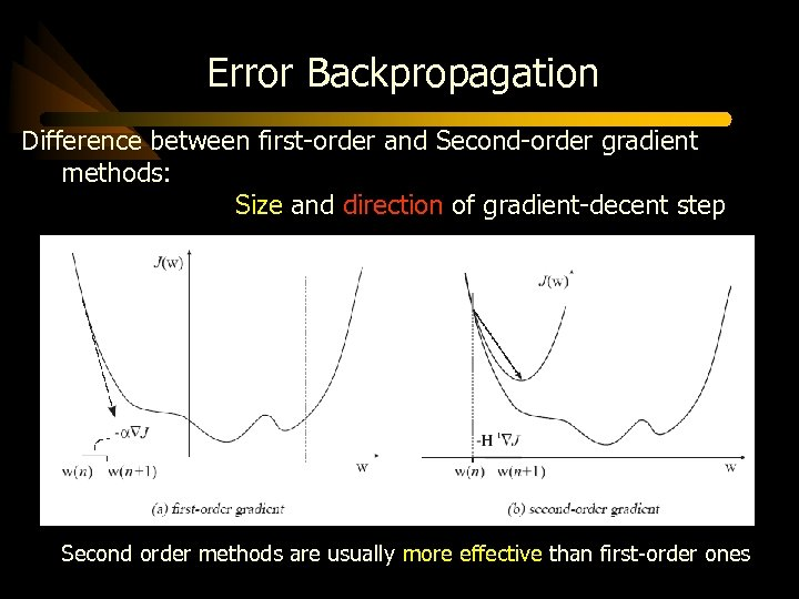 Error Backpropagation Difference between first-order and Second-order gradient methods: Size and direction of gradient-decent