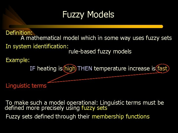 Fuzzy Models Definition: A mathematical model which in some way uses fuzzy sets In