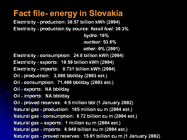 Fact file- energy in Slovakia Electricity - production: 30. 57 billion k. Wh (2004)