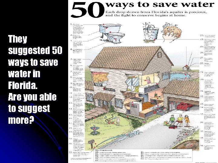 They suggested 50 ways to save water in Florida. Are you able to suggest