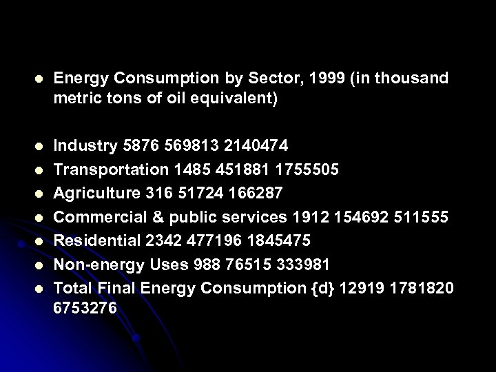 l Energy Consumption by Sector, 1999 (in thousand metric tons of oil equivalent) l