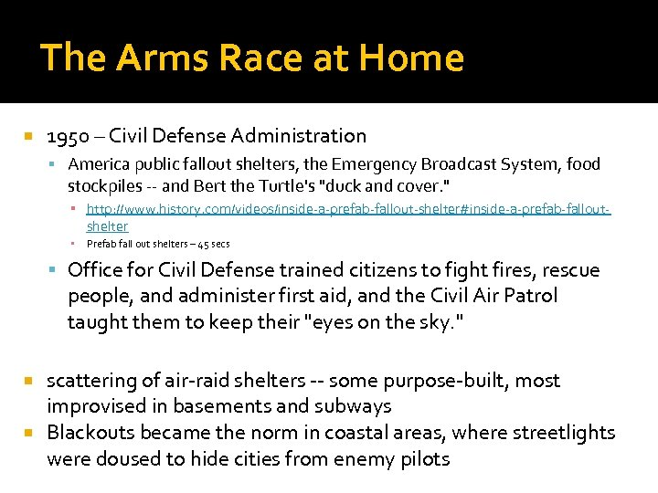 The Arms Race at Home 1950 – Civil Defense Administration America public fallout shelters,