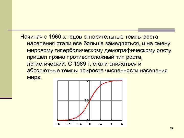 Начиная с 1960 -х годов относительные темпы роста населения стали все больше замедляться, и