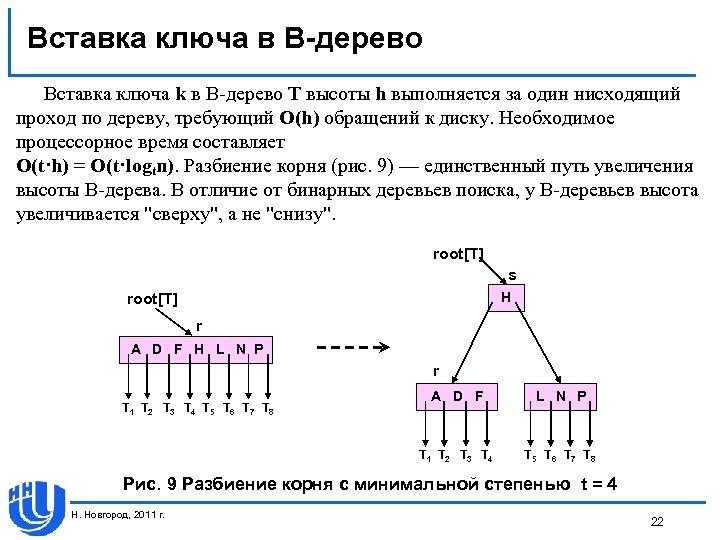 Вставка ключа в В-дерево Вставка ключа k в В-дерево T высоты h выполняется за