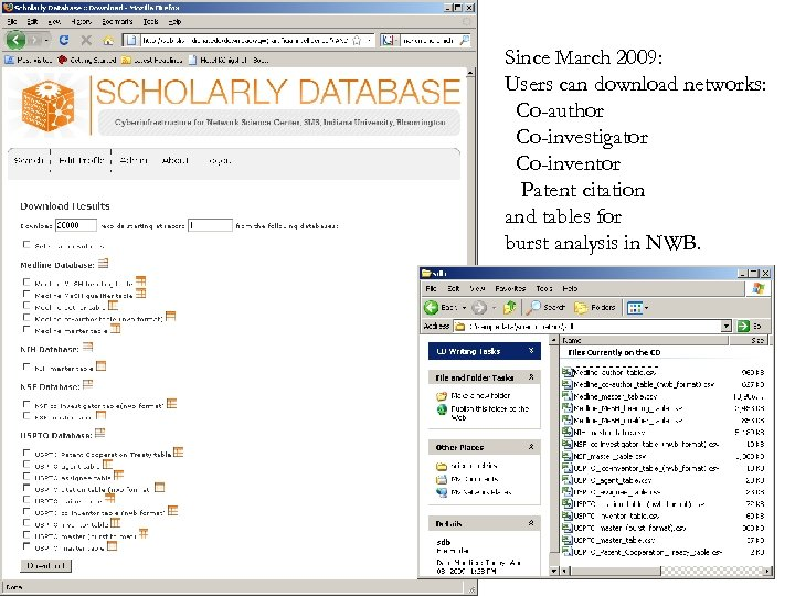 Since March 2009: Users can download networks: Co-author Co-investigator Co-inventor Patent citation and tables