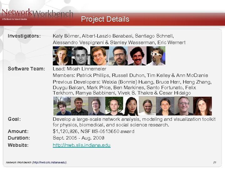Project Details Investigators: Katy Börner, Albert-Laszlo Barabasi, Santiago Schnell, Alessandro Vespignani & Stanley Wasserman,