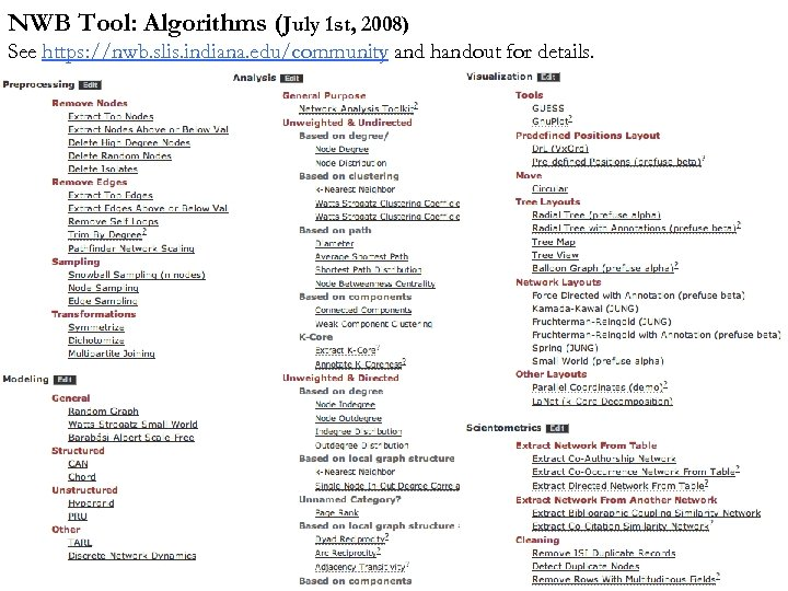 NWB Tool: Algorithms (July 1 st, 2008) See https: //nwb. slis. indiana. edu/community and