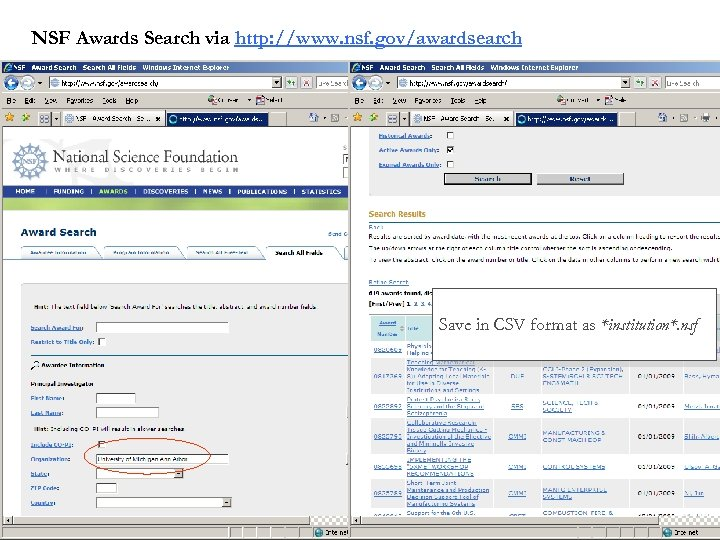 NSF Awards Search via http: //www. nsf. gov/awardsearch Save in CSV format as *institution*.