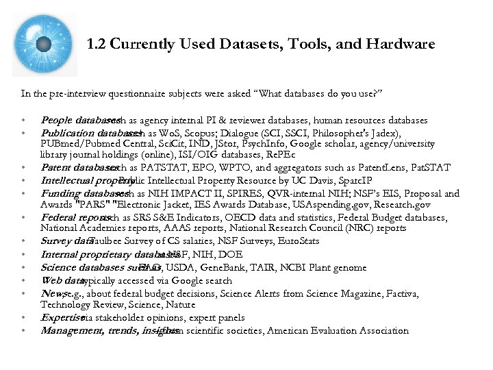1. 2 Currently Used Datasets, Tools, and Hardware In the pre-interview questionnaire subjects were