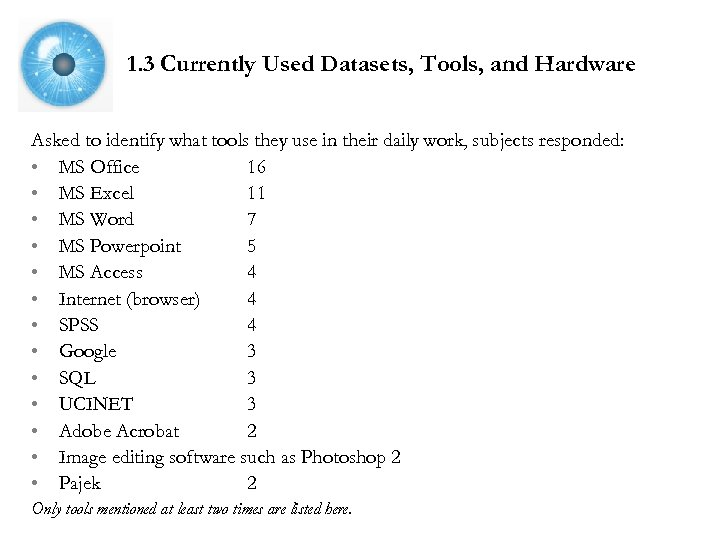 1. 3 Currently Used Datasets, Tools, and Hardware Asked to identify what tools they
