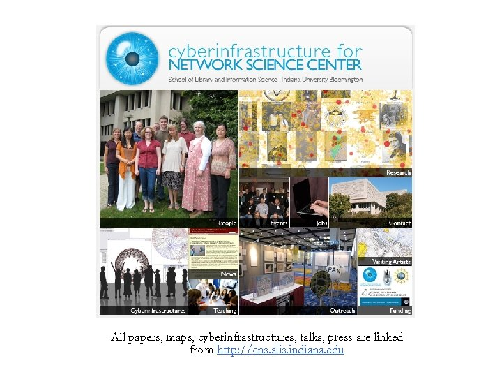 All papers, maps, cyberinfrastructures, talks, press are linked from http: //cns. slis. indiana. edu