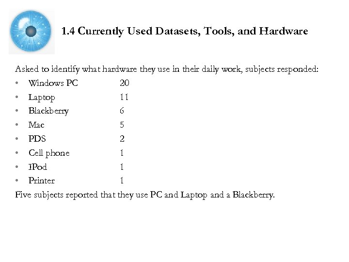 1. 4 Currently Used Datasets, Tools, and Hardware Asked to identify what hardware they