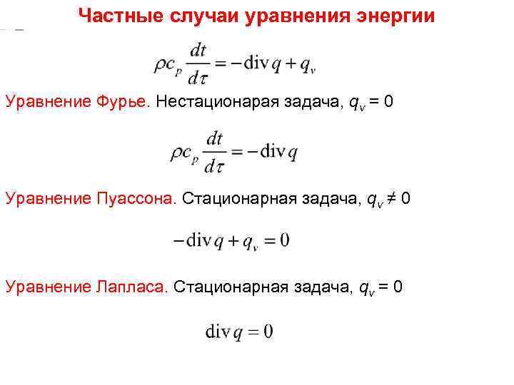 ТП Частные случаи уравнения энергии Лекция 23 Уравнение Фурье. Нестационарая задача, qv = 0