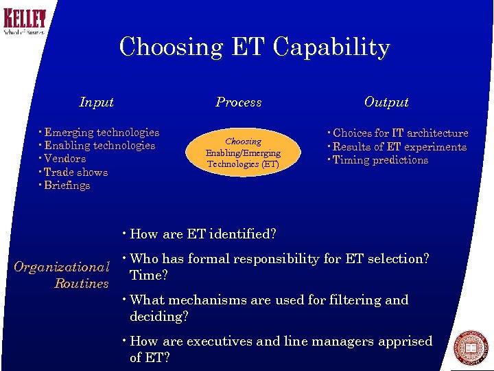 Choosing ET Capability Input Process • Emerging technologies • Enabling technologies • Vendors •