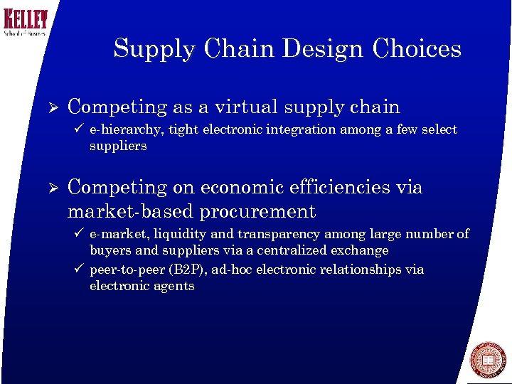 Supply Chain Design Choices Ø Competing as a virtual supply chain ü e-hierarchy, tight