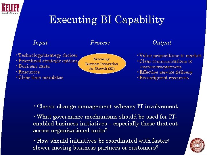 Executing BI Capability Input • Technology/strategy choices • Prioritized strategic options • Business cases
