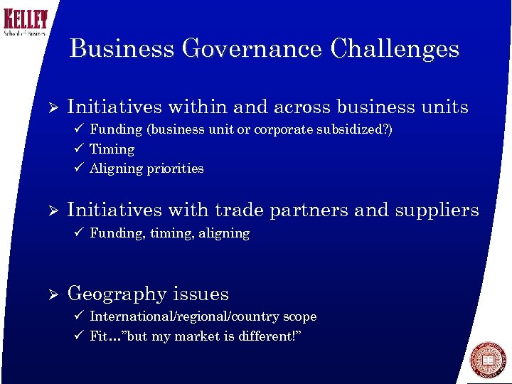 Business Governance Challenges Ø Initiatives within and across business units ü Funding (business unit
