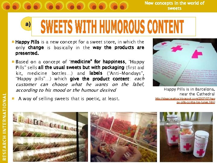 New concepts in the world of sweets a) Happy Pills is a new concept