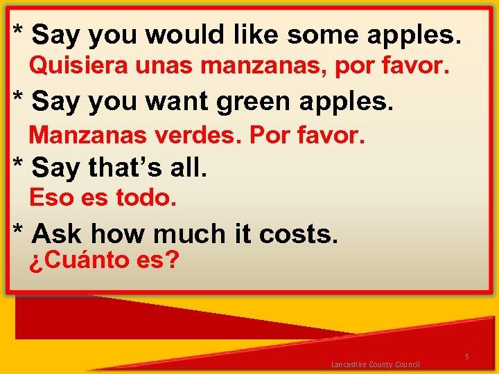* Say you would like some apples. Quisiera unas manzanas, por favor. * Say