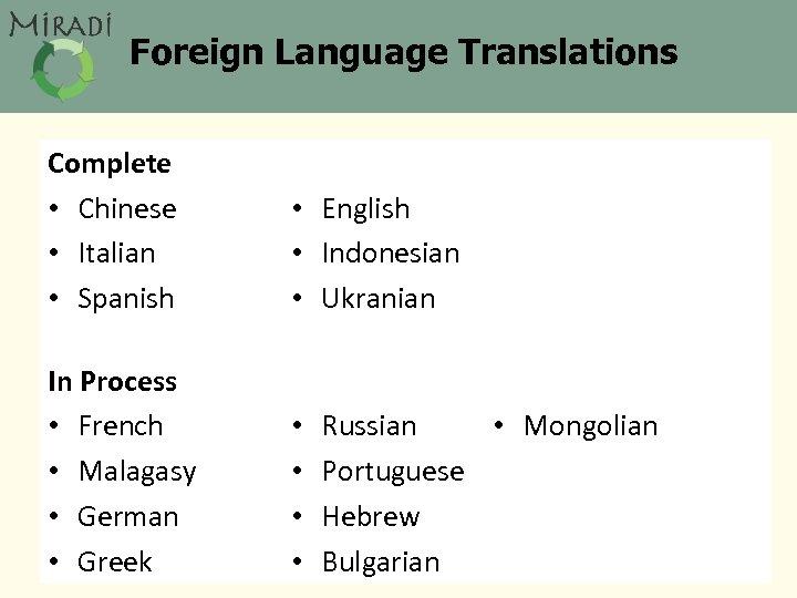 Foreign Language Translations Complete • Chinese • Italian • Spanish • English • Indonesian