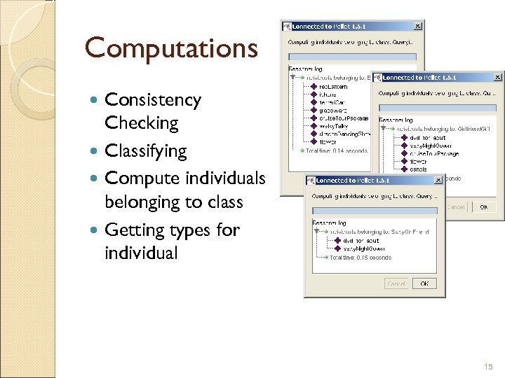 Computations Consistency Checking Classifying Compute individuals belonging to class Getting types for individual 15