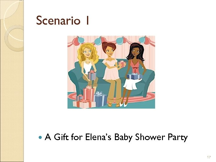 Scenario 1 A Gift for Elena's Baby Shower Party 17