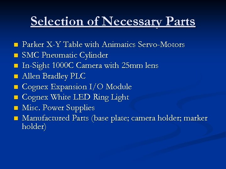 Selection of Necessary Parts n n n n Parker X-Y Table with Animatics Servo-Motors