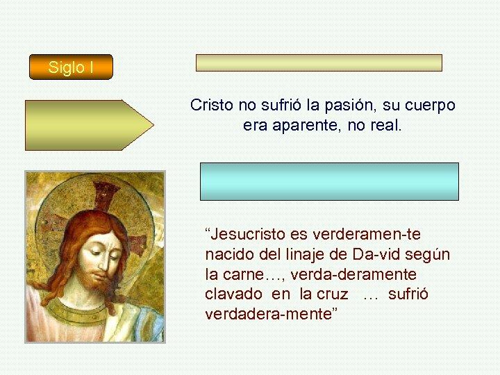 """Siglo I Cristo no sufrió la pasión, su cuerpo era aparente, no real. """"Jesucristo"""