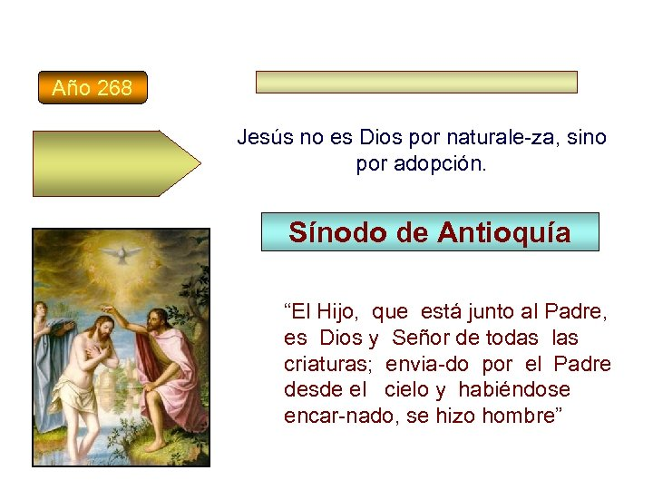 Año 268 Jesús no es Dios por naturale-za, sino por adopción. Sínodo de Antioquía
