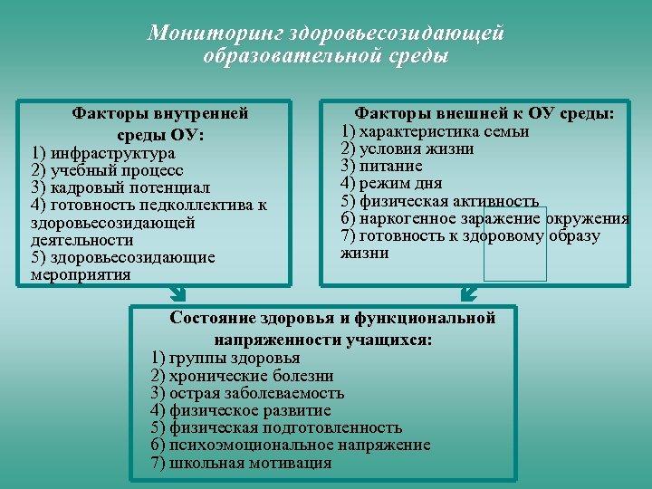 Мониторинг здоровьесозидающей образовательной среды Факторы внутренней среды ОУ: 1) инфраструктура 2) учебный процесс 3)