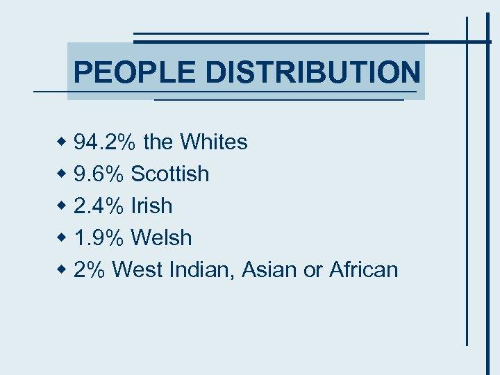 PEOPLE DISTRIBUTION w 94. 2% the Whites w 9. 6% Scottish w 2. 4%