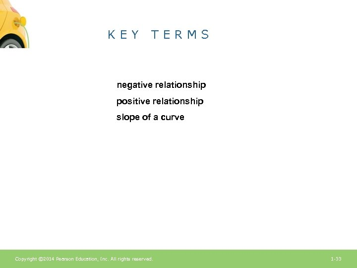 KEY TERMS negative relationship positive relationship slope of a curve Copyright © 2014 Pearson
