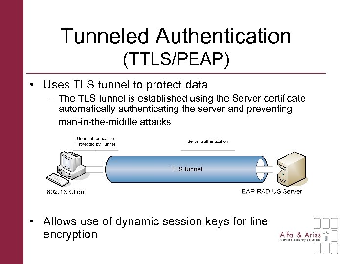 Tunneled Authentication (TTLS/PEAP) • Uses TLS tunnel to protect data – The TLS tunnel