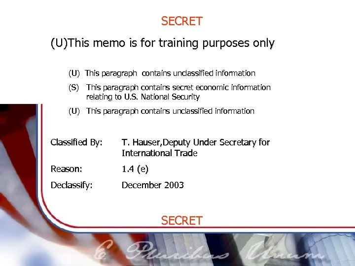 SECRET (U)This memo is for training purposes only (U) This paragraph contains unclassified information