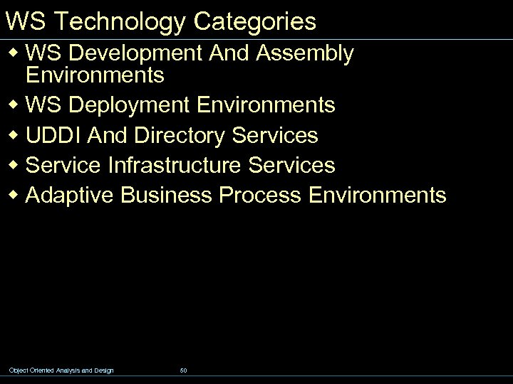 WS Technology Categories w WS Development And Assembly Environments w WS Deployment Environments w