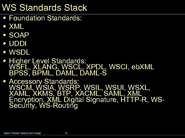 WS Standards Stack w w w Foundation Standards: XML SOAP UDDI WSDL Higher Level