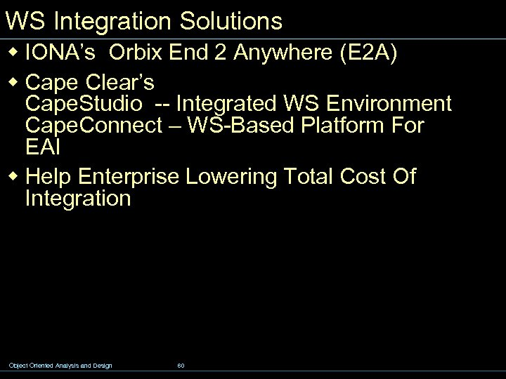 WS Integration Solutions w IONA's Orbix End 2 Anywhere (E 2 A) w Cape