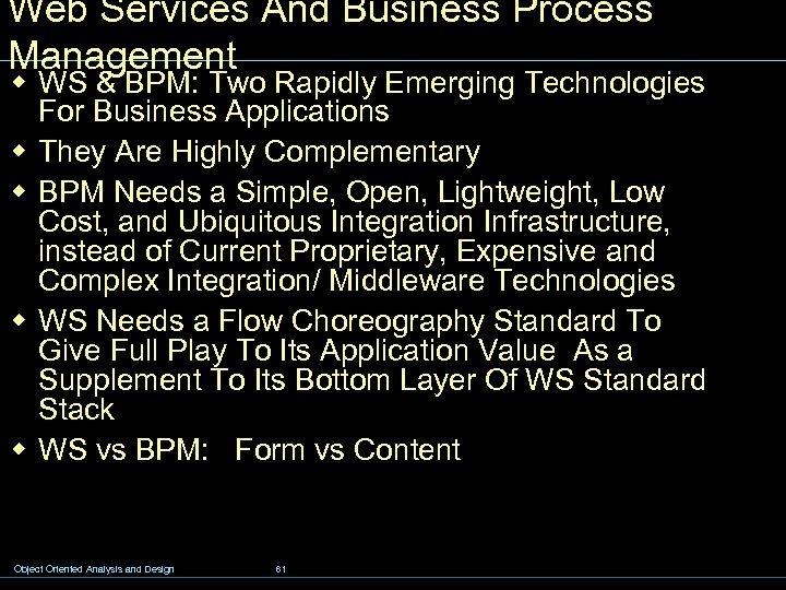 Web Services And Business Process Management w WS & BPM: Two Rapidly Emerging Technologies
