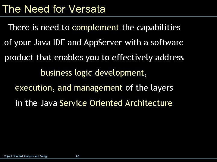 The Need for Versata There is need to complement the capabilities of your Java
