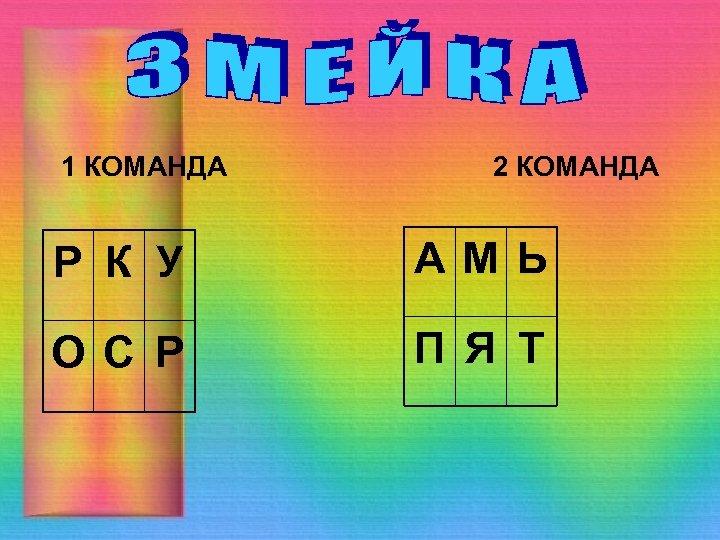 1 КОМАНДА 2 КОМАНДА Р К У АМЬ О С Р П Я Т