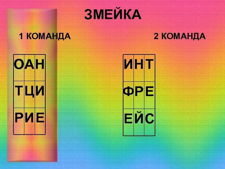 ЗМЕЙКА 1 КОМАНДА 2 КОМАНДА ОАН ИН Т Т ЦИ ФР Е РИЕ ЕЙС