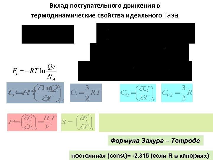 Вклад поступательного движения в термодинамические свойства идеального газа Формула Закура – Тетроде постоянная (const)=