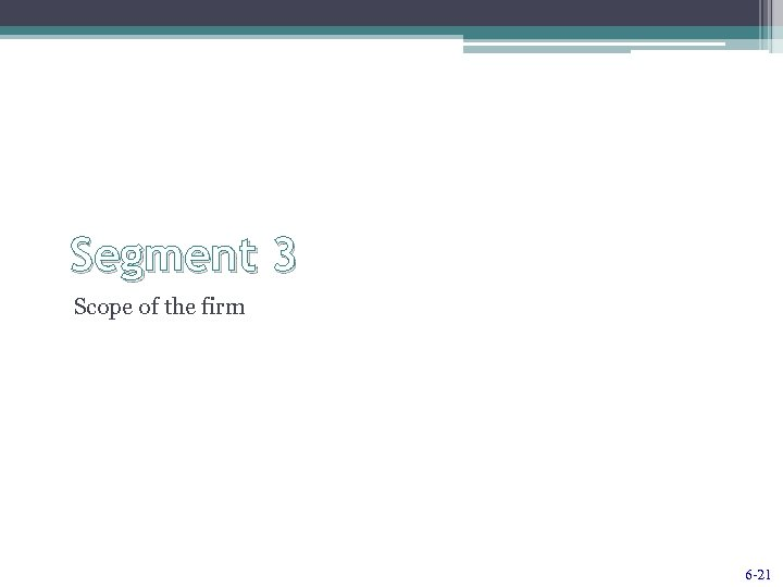 Segment 3 Scope of the firm 6 -21