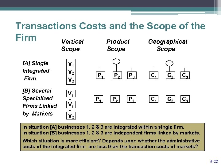 Transactions Costs and the Scope of the Firm Vertical Product Geographical Scope [A] Single