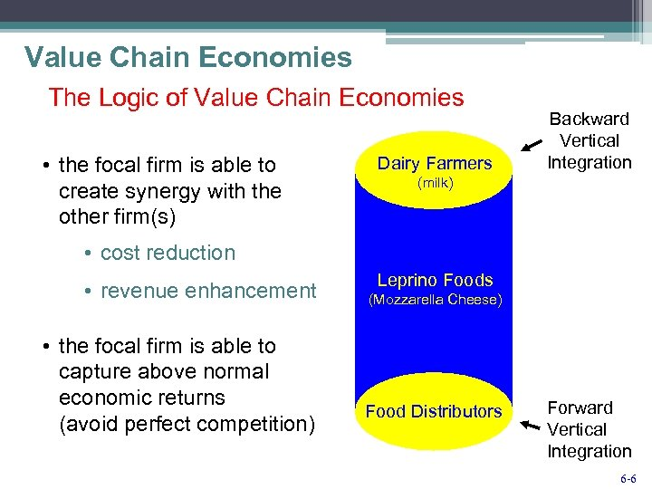 Value Chain Economies The Logic of Value Chain Economies • the focal firm is